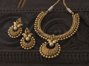 Antique Necklace set from Kushal Fashion jewellery ~ South India Jewels