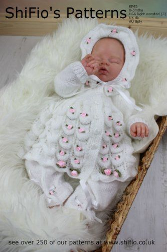Knitting Pattern  - KP45 - Baby Matinee Jacket, Hat, Trou…