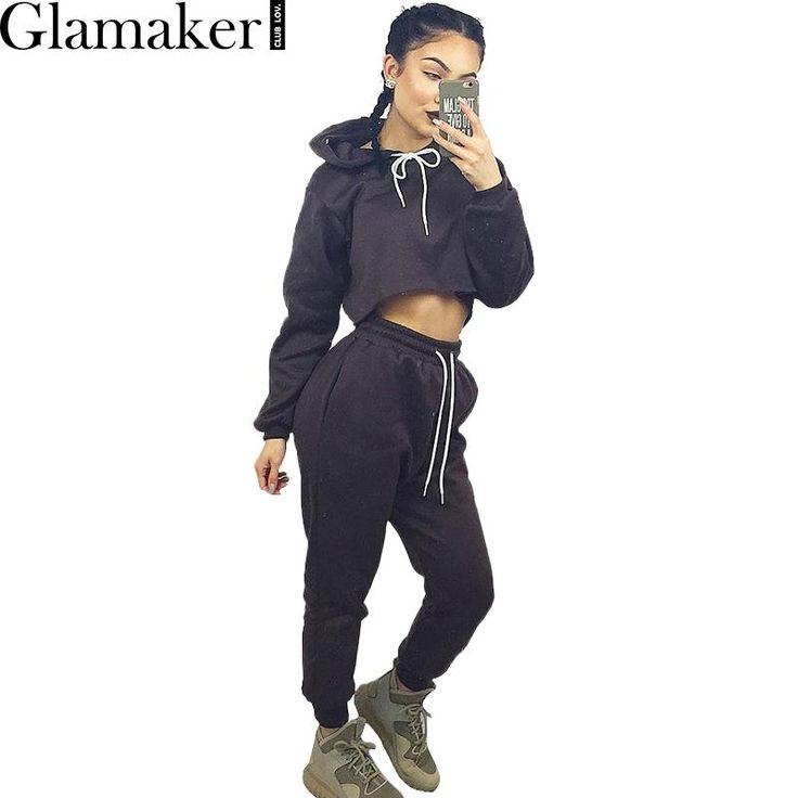 Glamaker 2016 Autumn winter loose elegant jumpsuit romper Long sleeve warm hoodies women two piece outfits Casual gray overalls