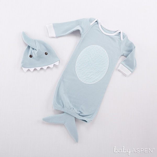 We don't know what's more adorable, the little tail or the little shark hat! | Blue Shark Two-Piece Layette Set