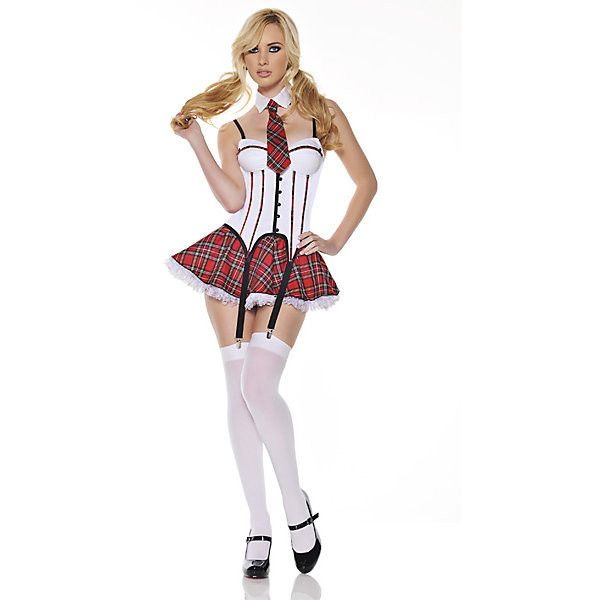 School Girl ($50) ❤ liked on Polyvore featuring costumes, halloween costumes, multicolor, sexy school girl halloween costume, sexy school girl, womens halloween costumes, sexy schoolgirl halloween costume and ladies halloween costumes