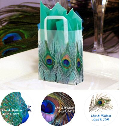 Pretty Peacock Wedding Favor Bags.  See more teal wedding inspiration: http://www.squidoo.com/Peacocks-and-Butterflies-Wedding