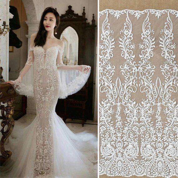 Off White Sequin Lace Fabric Lace Wedding Dress Boho Wedding Dress
