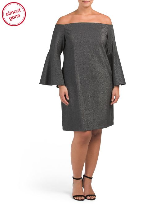 9ddd22b3f9f02 Plus+Off+The+Shoulder+Ponte+Dresss bell sleeve, seamed, glitter finish,  fabric provides stretch … | Plus Size Clothing, Many Markdown Specials  Hurry! in ...