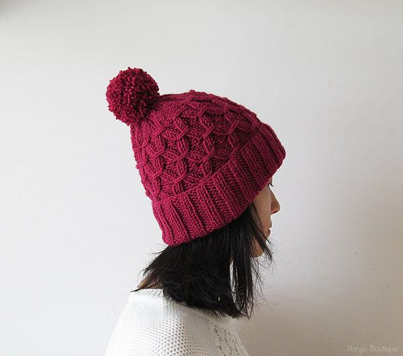 Hand Knitted Hat in Ruby  Beanie with Pom Pom  Seamless