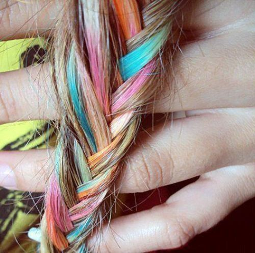Looks like fun: Rainbows Hair, Dips Dyes, Hairchalk, Girls Hairstyles, Fishtail Braids, Hair Style, Temporary Hair Dye, Hair Chalk, Colors Hair