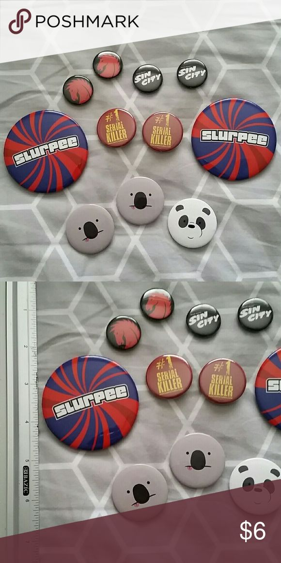 FREE pins with any order! Ska Comic Con Star Wars Will include 5 pins free with any order!  OR - buy all 16 pins for $5  Some pins are from Comic con 2015  The Jam pin is vintage looks older and sun damaged than the others  **Scott Pilgrim, Star Wars, and Koala have been claimed**  Fuel TV We Bare Bears Slurpee Ska Punk Reel Big Fish Vegan Dark Horse Comics GoGo 13 Hot Topic Accessories
