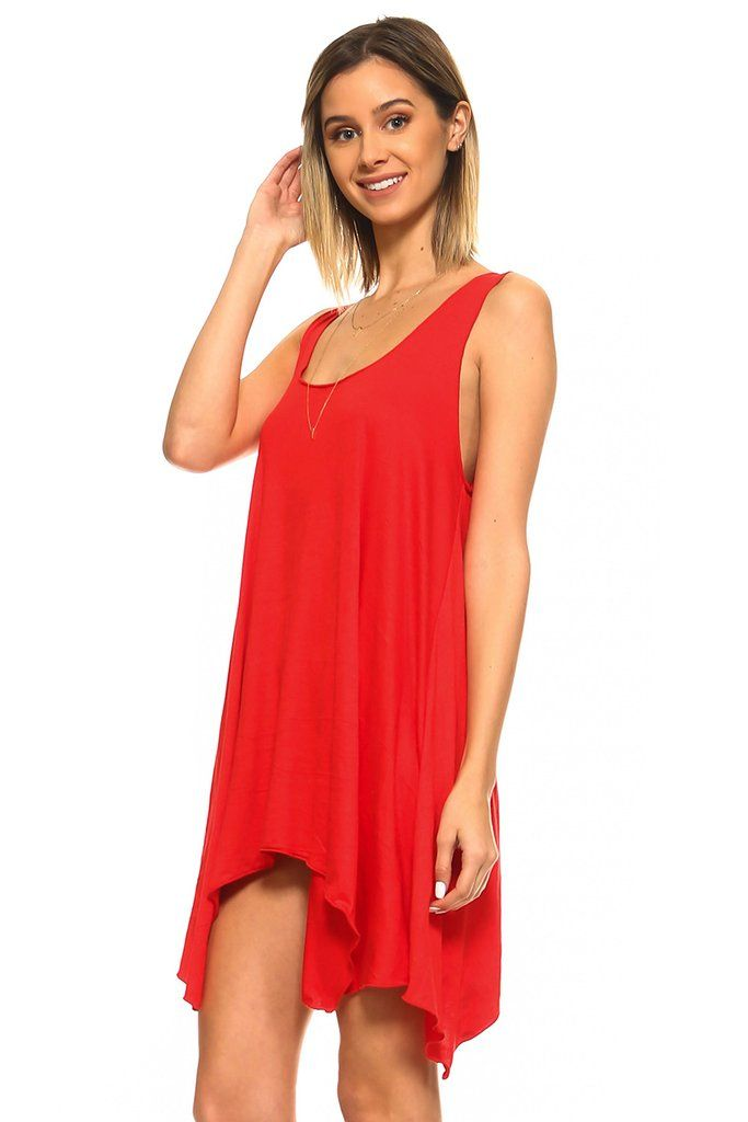 d6a3a5f2e9e Red Sleeveless Handkerchief Swing Tunic Dress Tunic Pattern, Types Of  Sleeves, Swing Dress,