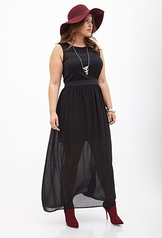 Chiffon Maxi Dress | FOREVER21 PLUS - 2000138069. I have this dress and never wore it yet. This gives me some ideas.
