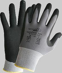 Der Handschuh SecuFeel flex besitzt eine mikroporöse Nitril-Beschichtung, ist äußerst flexibel, feinfühlig und besitzt eien langlebige und robuste Nitrilbeschichtung.