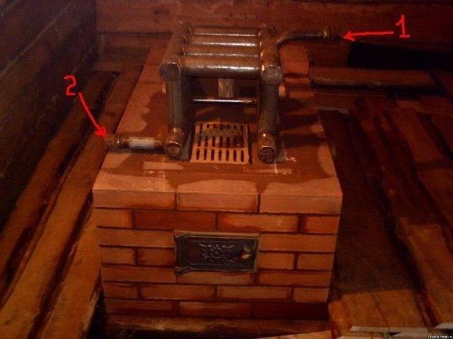 Кирпичная печь с встроенным котлом водяного отопления: