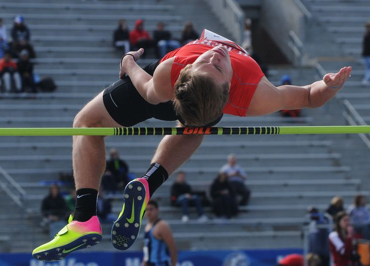 Gilbert's Eric Swart clears the bar during the high school boys' high jump in the Drake Relays at Drake Stadium Thursday in Des Moines. Swart finished 18th. Photo by Nirmalendu Majumdar/Ames Tribune http://www.amestrib.com/sports/20170427/boys-track-clapper-swart-take-in-drake-relays