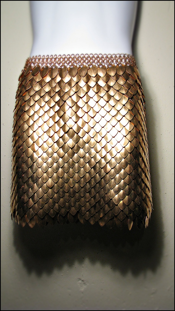 This is a new form of chain mail that I have never seen before and instead of metal it might be interesting made from leather and worked into.