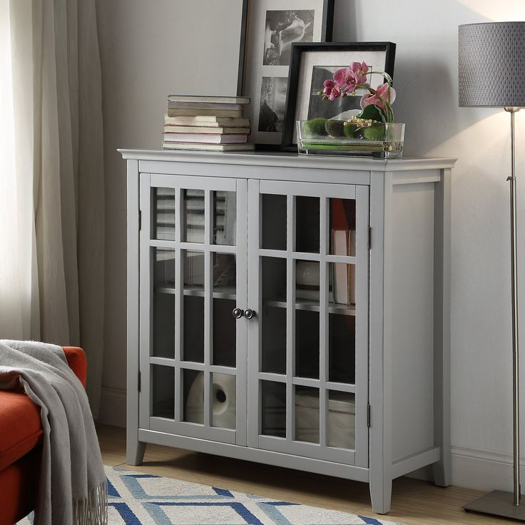 Linon Leslie Double Door Cabinet Ashley Furniture Homestore In 2020 Accent Doors Linon Glass Front Cabinets