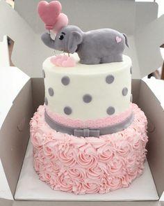The White Kitten Bakes - Girl Baby Shower Elephant Theme