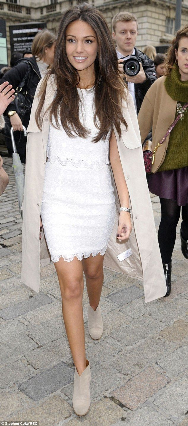 Weddings on the brain? The actress' bridal-inspired ensemble is from her Lipsy Love Michelle Keegan Spring/Summer collection