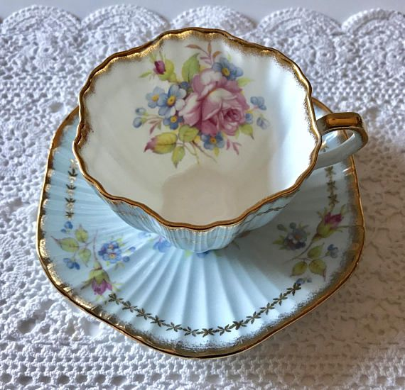 Vintage E.B Foley china tea cup and saucer, made in England. An absolutely stunning set with lovely blue, purple white and yellow flowers. It is in good condition, no chips, cracks, crazing or repairs. Both pieces ring nicely Please Note: The items I sell are not new, they are