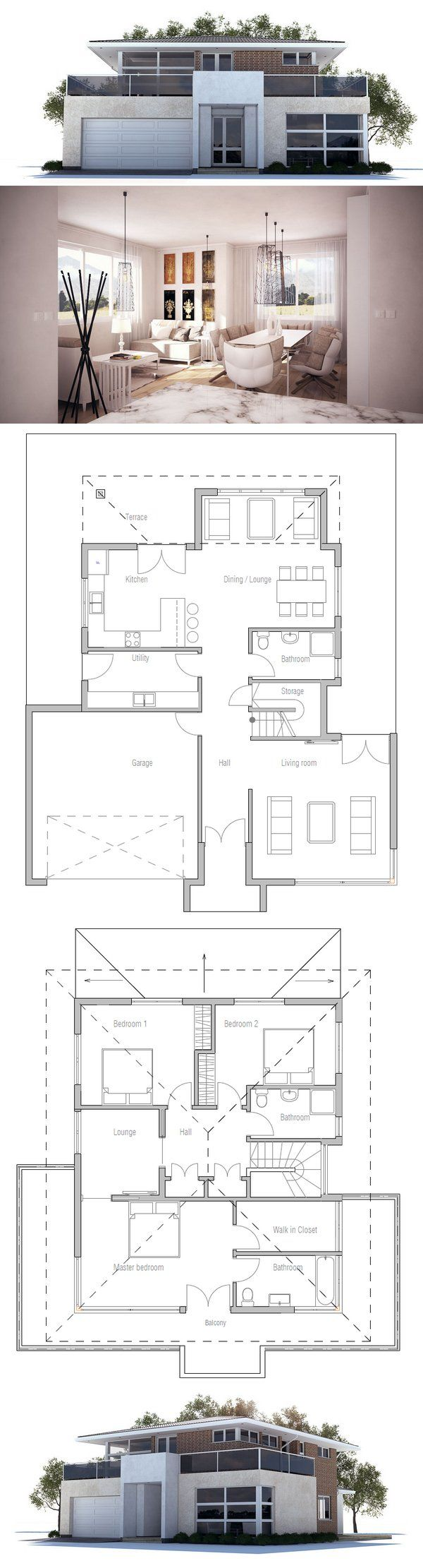 Modern House Plan with three bedrooms, two living areas, double garage. Floor Plan from ConceptHome.com. Modern Architecture