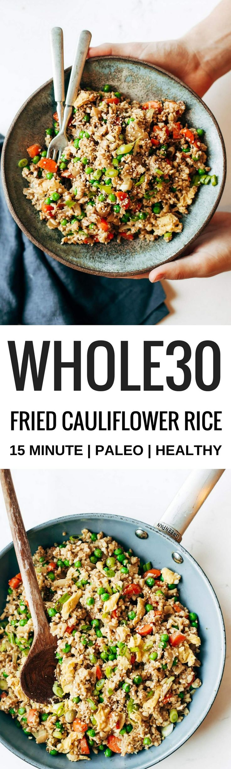 Easy 10 minute fried cauliflower rice- whole30 and paleo! | Posted By: DebbieNet.com