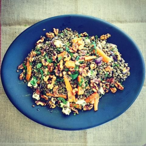 This is one of my all time favourite salads, partly because it so tasty and partly because it makes a generous size, so it's great of entertaining. Lentils are