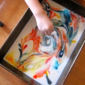 Milk Painting is a fun way to stimulate kids' imaginations and spark their color mixing curiosity. Pair this activity with reading the classic picture book IT LOOKED LIKE SPILT MILK by Charles G. Shaw | Library As Incubator Project