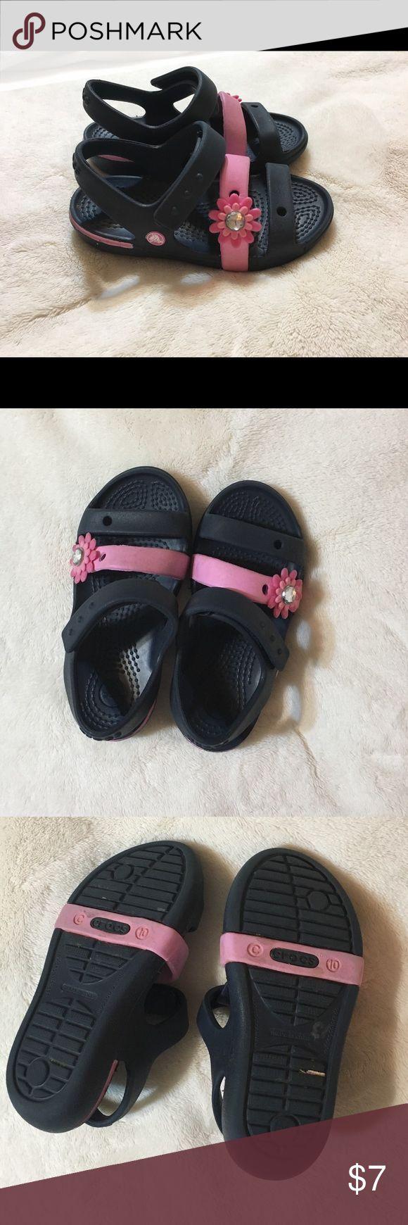 Crocs sandals Navy blue and pink sandals  Good condition  C10 CROCS Shoes Sandals & Flip Flops