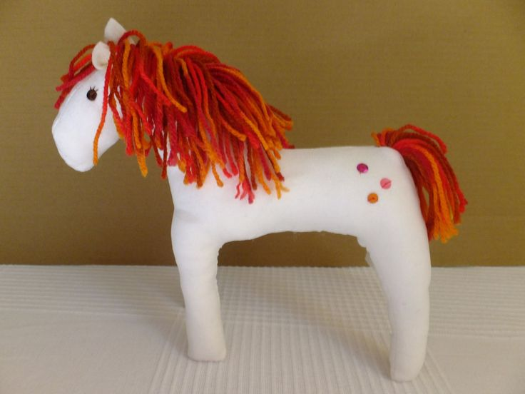Starry, Red and White Waldorf Pony - Free Shipping by Bubago on Etsy