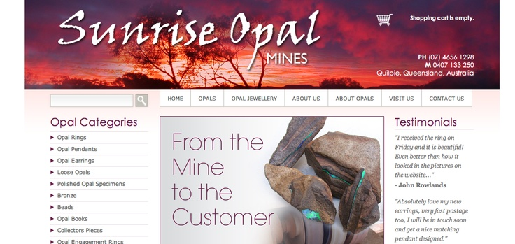 Located in Central West Queensland, Quilpie to be exact, Sunrise Opals has an incredible range of opal jewellery available for sale on their high end ecommerce website we produced in 2011.