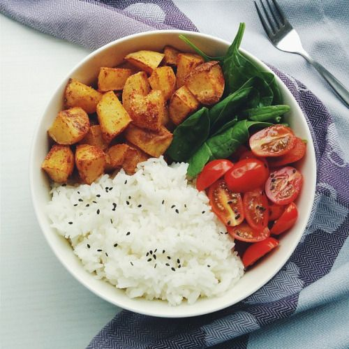 bananasfornanas: Dinner was jasmine rice , baked oil/salt free potato chiplets, spinach and cherry tomatoes.