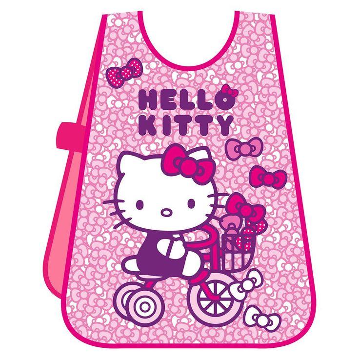 Delantal infantil de manualidades Hello Kitty. Indicado para las actividades de los más pequeños. Fácil de poner, tiene unos botones laterales que sujetan el delantal al cuerpo. Fácil también de lavar, puedes llevarlo al comedor o a la guardería. Medidas 50x37 cm