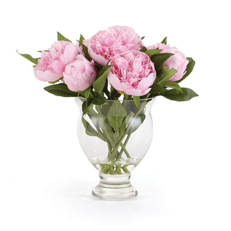 13'' Pink Peony Flower Arrangement in Clear Vase
