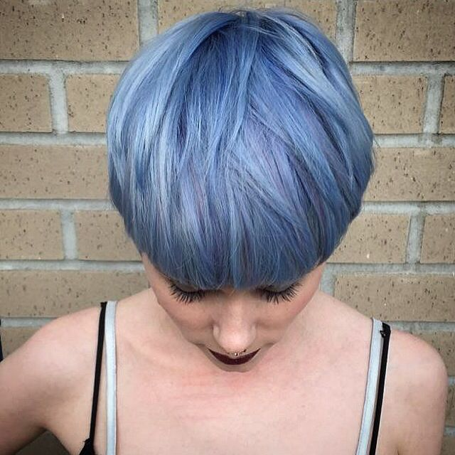 Blue and violet pastel tones for a pixie cut. Adds dimension to a short pixie cut.