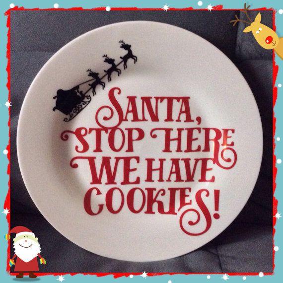 Santa cookies plate ceramic Cookies for Santa by HollyJollyWorks