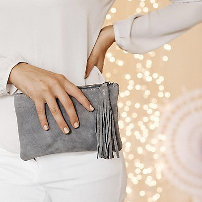 Small Suede Tassel Clutch - Grey | The White Company #whitechristmaswishlist
