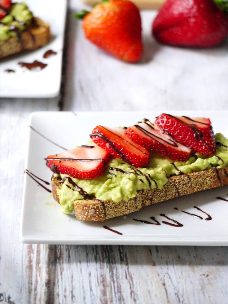Strawberry and Avocado Toast with Extra Dark Chocolate Drizzle