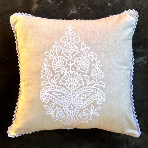 White Paisley On Linen/Cotton With Hand Crochet Edge