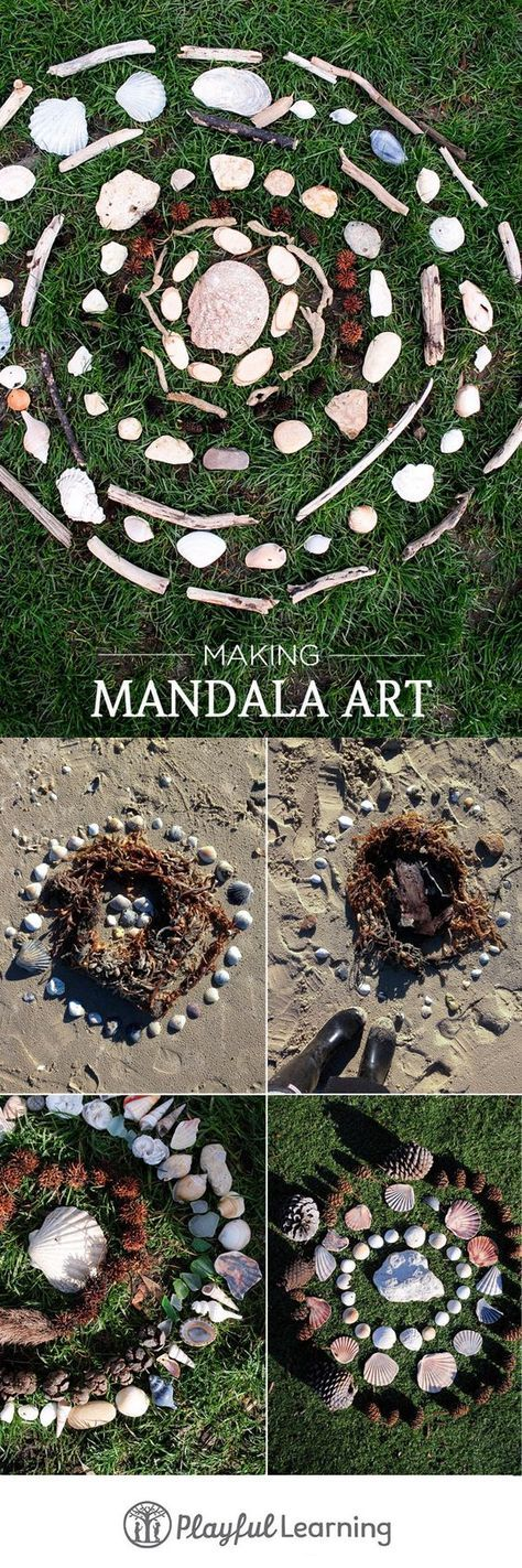 Kinder Draußen beschäftigen mit Mandalas aus Steinen oder Muscheln *** A great way to spend quality time with kids outside - Mandala with stones or shellfish
