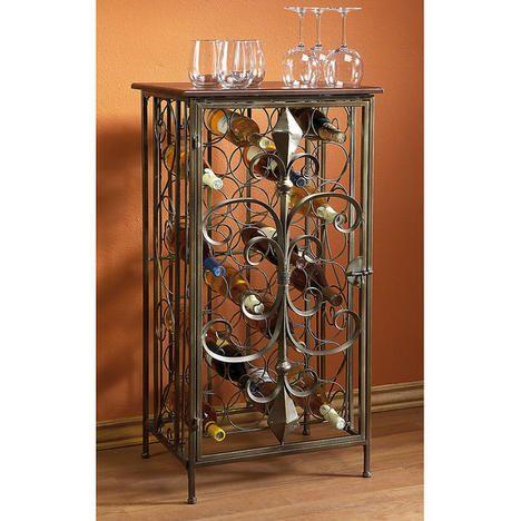 Antiqued Scrolled Metal Wine Rack