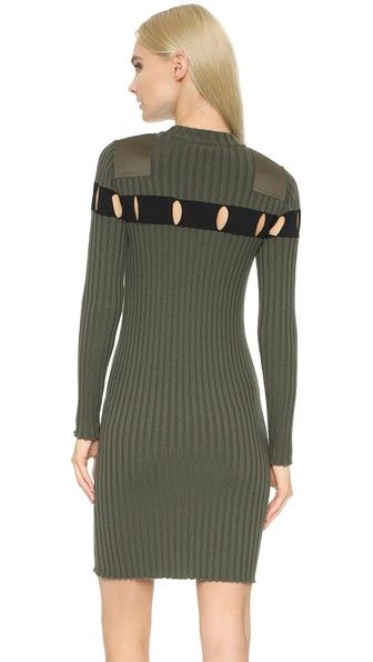 Alexander Wang Perforated Stripe Crew Neck Dress