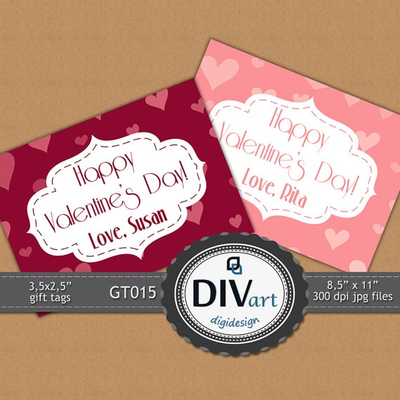 PRINTABLE Gift Tags 35x25  GT015  Valentine's Day by DIVart, $3.00