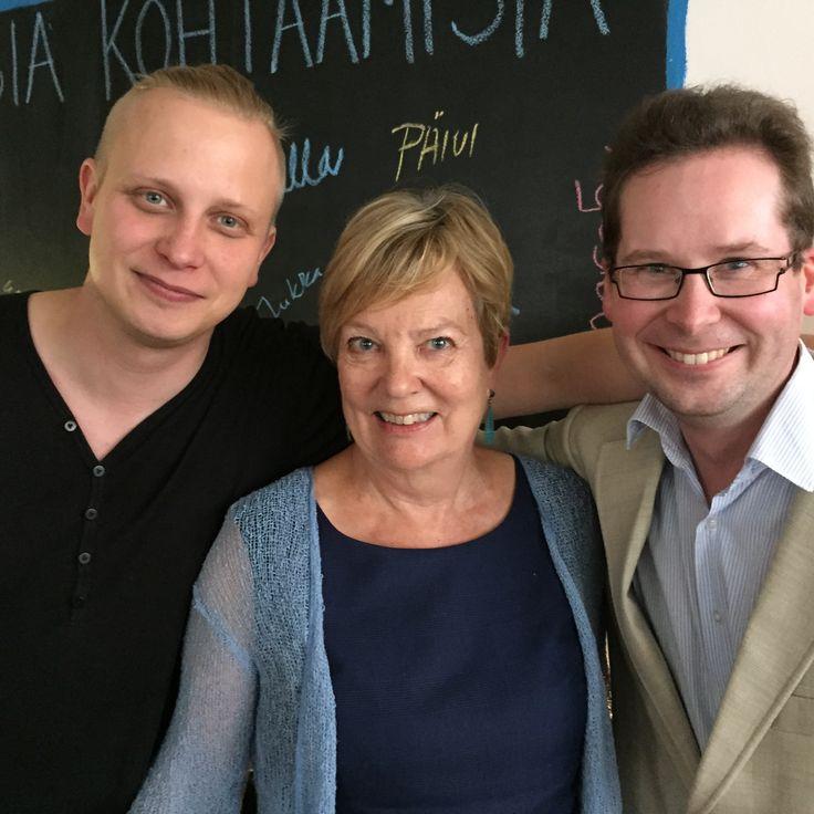 Tom Hagelberg, Anja Kulovesi-Leino ja Simo Kaksonen Siltasaaressa 6.8.2015.