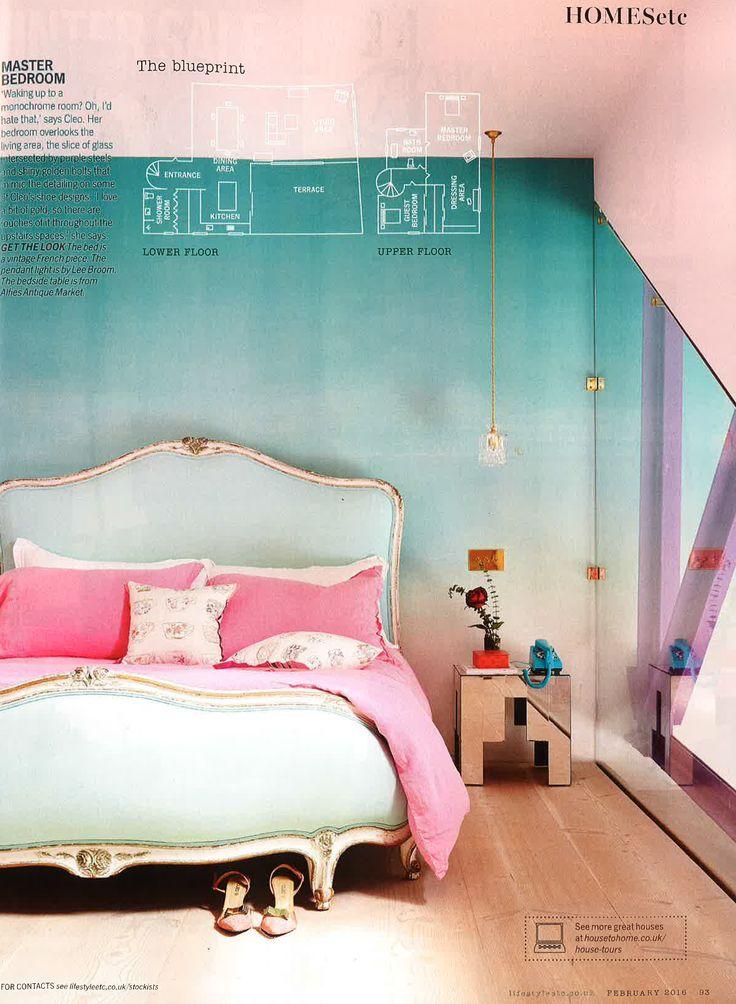 Designers Guild Saraille aqua wallpaper as seen in Living etc, UK