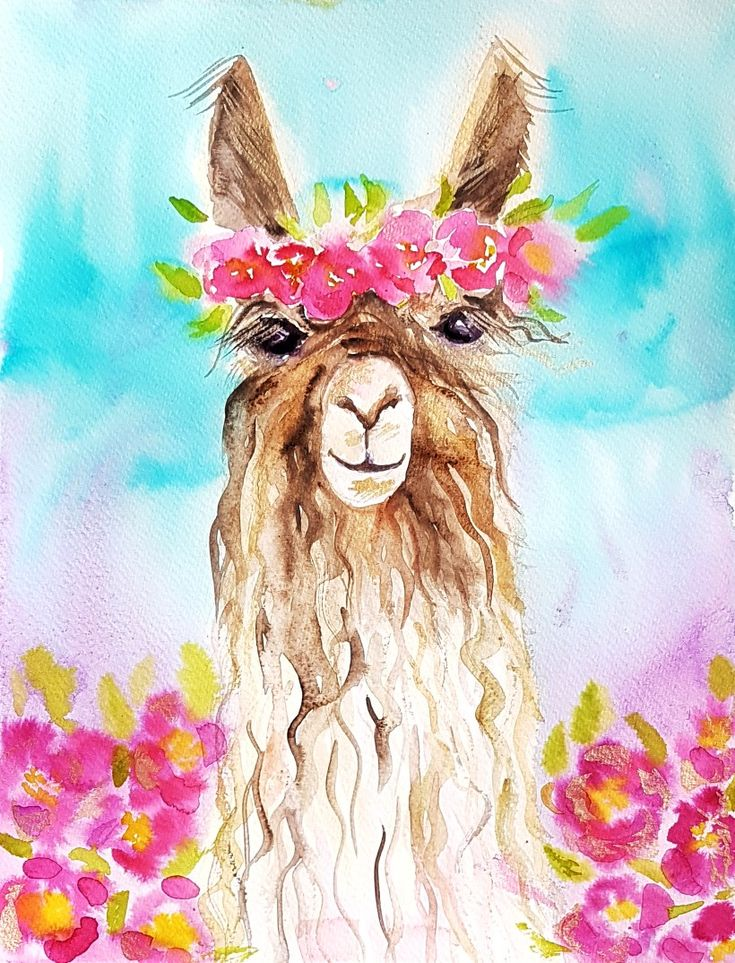 Llama In Flowers Original Watercolor Painting Cute Wall