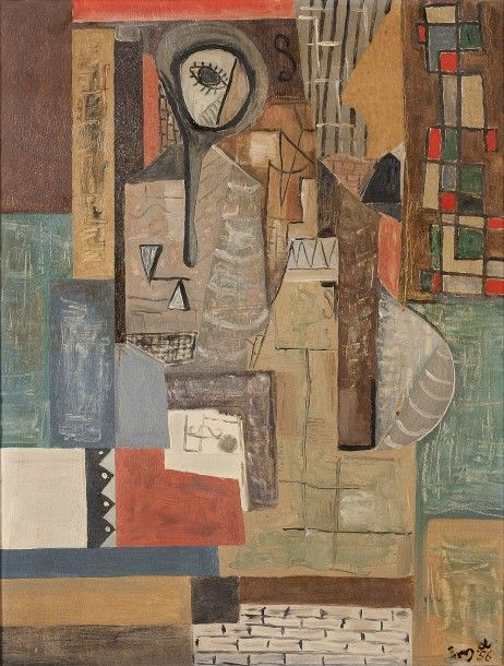 Ecole moderne du XXème  Composition cubiste, 1956  Huile sur panneau, monogrammée MD et datée en bas à droite  65 x 51 cm - Aguttes - 29/09/2016