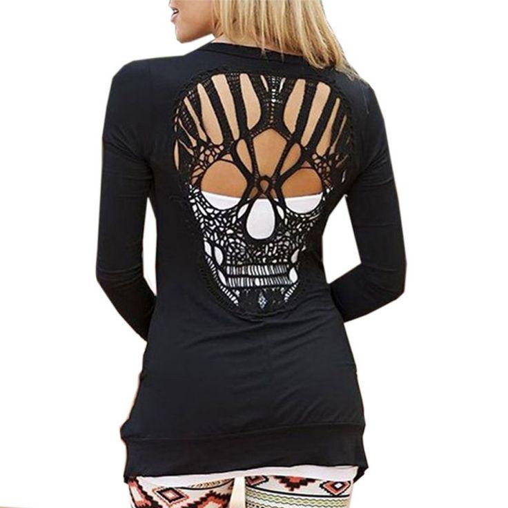Купить товарМода женщин свободного покроя куртки комбинезоны топы с длинным рукавом сексуальные назад череп вырез блузки рубашка в категории Кардиганына AliExpress.             Мода женская с длинным рукавом черепа спинки топы, блузки Рубашки повседневные наряды                  &nbsp