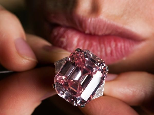 The Graff Pink: This is a fancy intense pink emerald-cut diamond that weighs about 24.78 carats. It was bought by Laurence Graff,  a London jewellery dealer for 45.6 million dollars at Sotheby's, Geneva auction. The stone made it to the market from a private collection, and has not appeared since it was purchased about 60 years ago from Mr Harry Winston.
