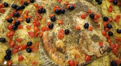 #ChefdiTER recipe: Rombo chiodato dell'Adriatico al forno con patate, pomodorini e olive
