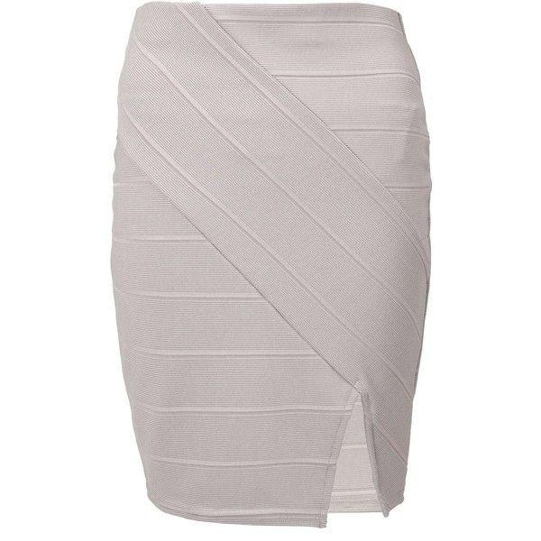 Miss Selfridge Grey Split Front Bandage Skirt ($40) ❤ liked on Polyvore featuring skirts, grey, gray bandage skirt, grey skirt, bandage skirt, gray skirt and miss selfridge