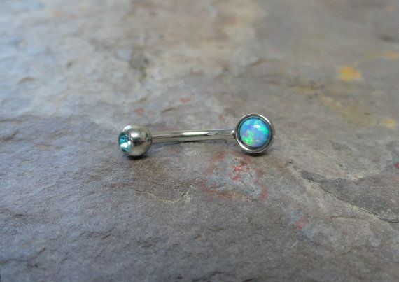 Turquoise Blue Fire Opal Eyebrow Ring Rook Ear Piercing on Etsy, $10.00
