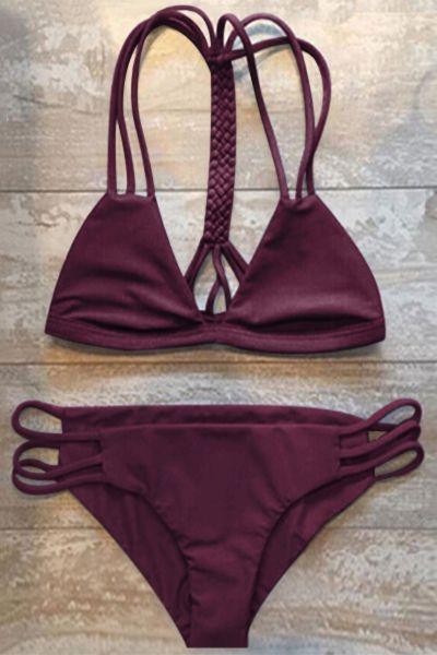High-Cut Hollow Out Bikini Set WINE RED: Bikinis   ZAFUL